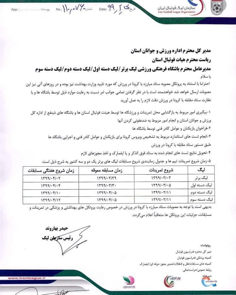نامه سازمان لیگ به تیمها در مورد زمان بندی شروع مسابقات و تمرینات + عکس