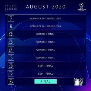 برنامه تاریخ و زمان جدید شروع لیگ قهرمانان اروپا 2020