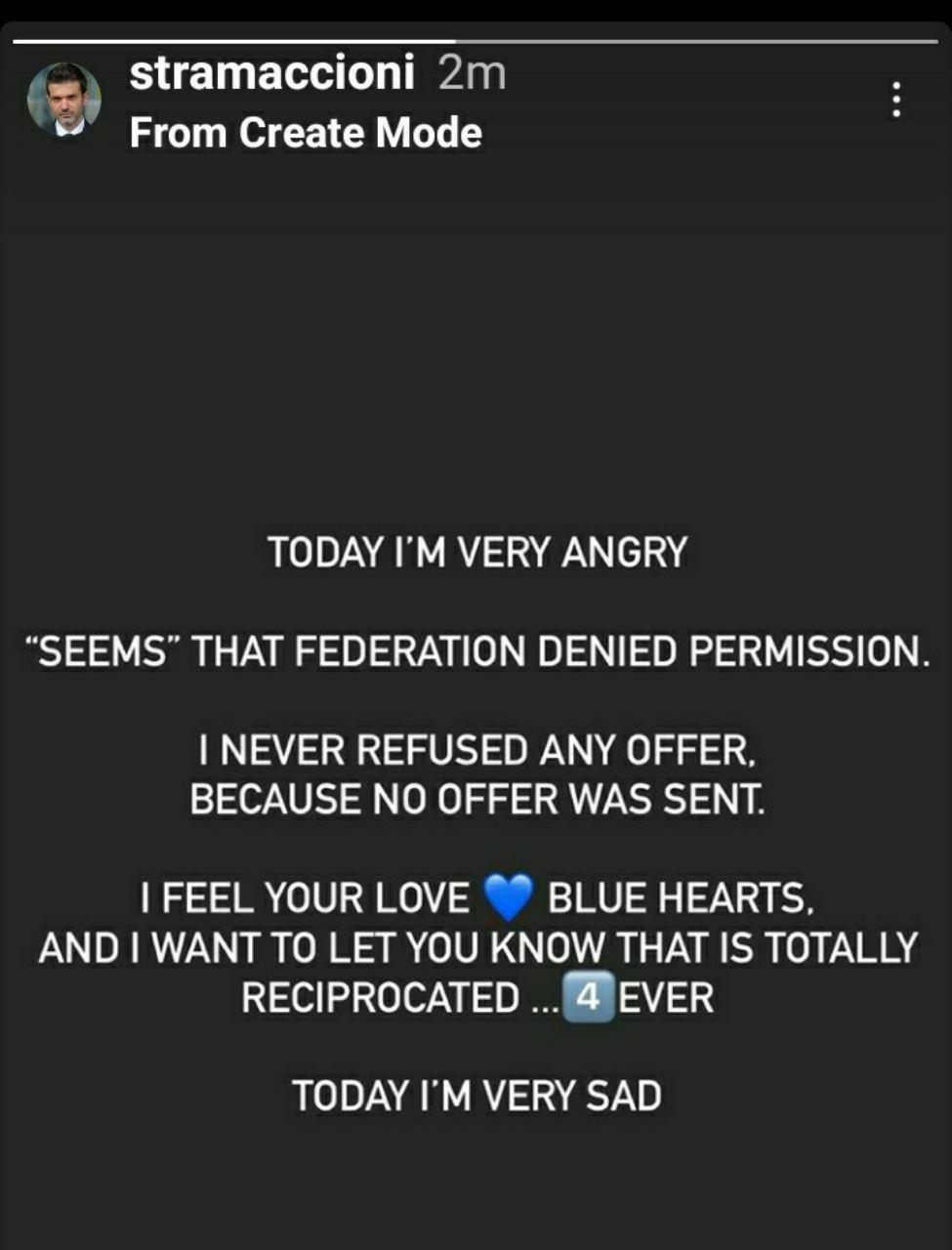 استوری جنجالی استراماچونی: امروز بسیار عصبانی هستم/ پیشنهادی در کار نبود!