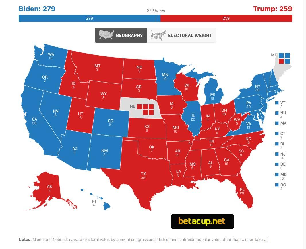 نقشه کارتهای الکترال انتخابات آمریکا