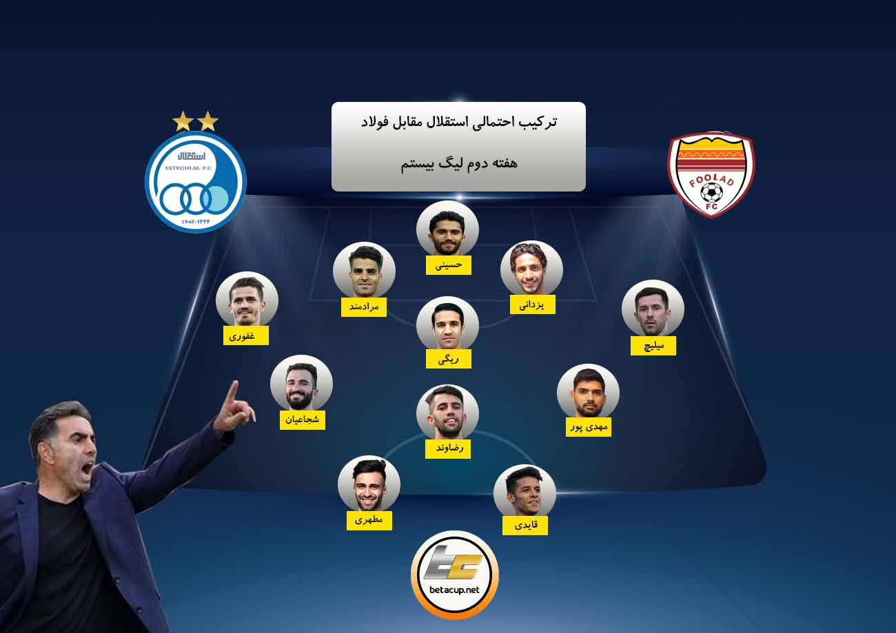 ترکیب احتمالی استقلال مقابل فولاد خوزستان