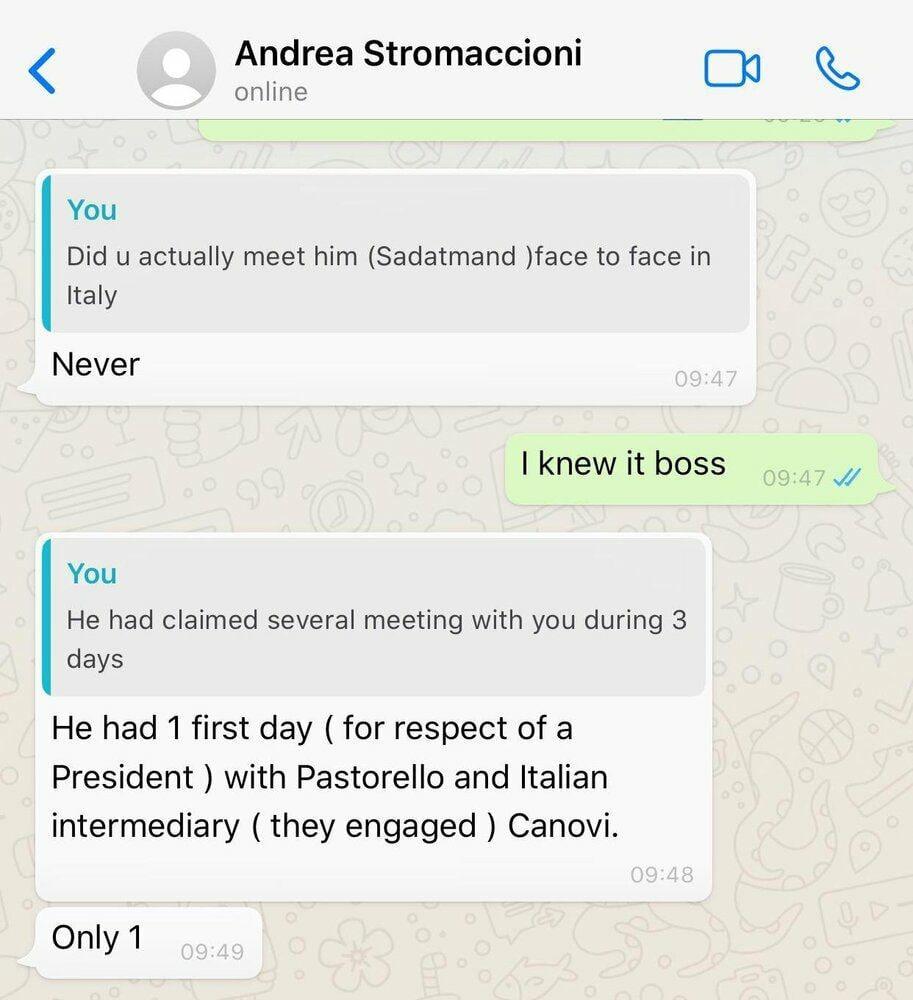 آندرا استراماچونی رسماً صحبتهای سعادتمند را تکذیب کرد