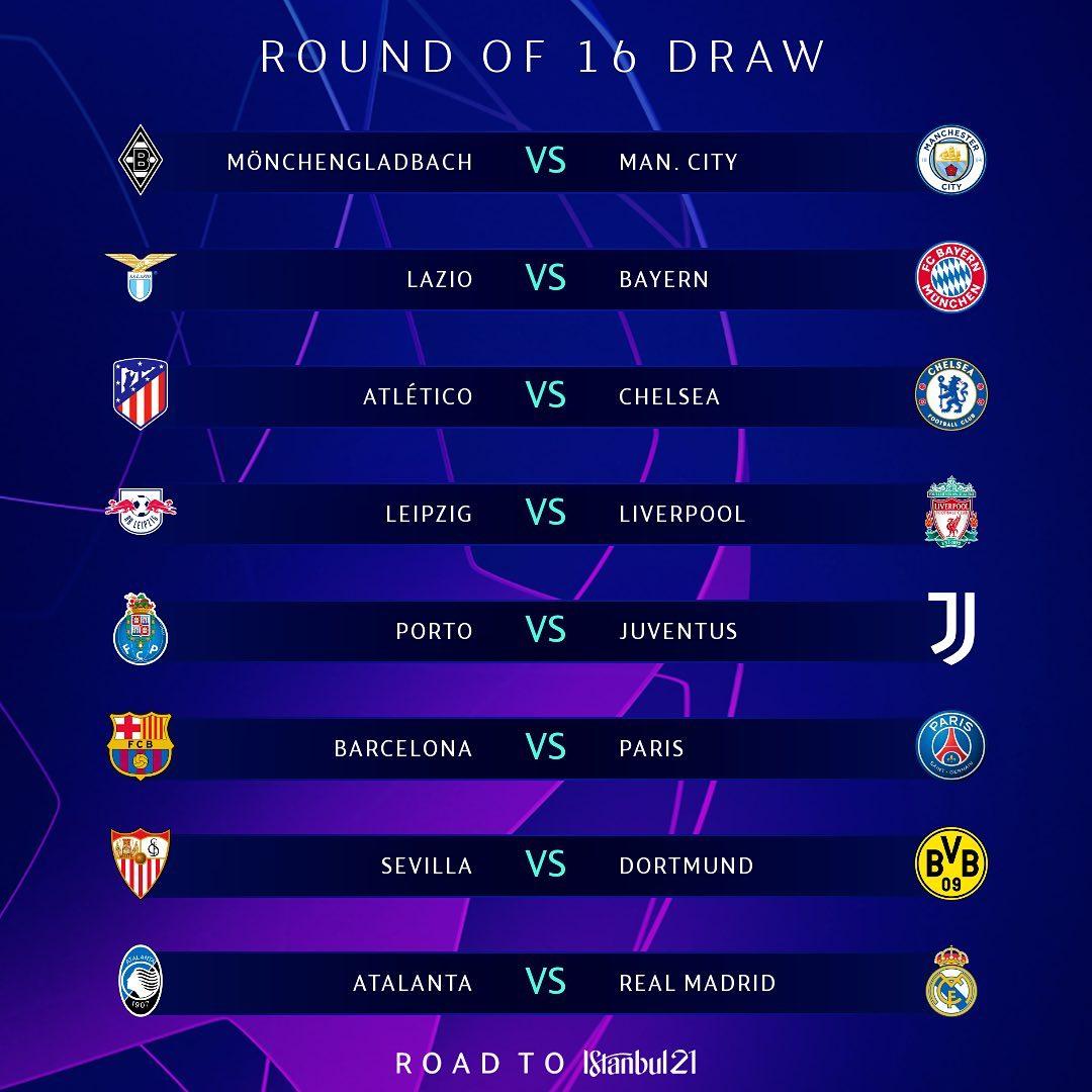 برنامه بازی های یک هشتم نهایی لیگ قهرمانان اروپا 2020/2021