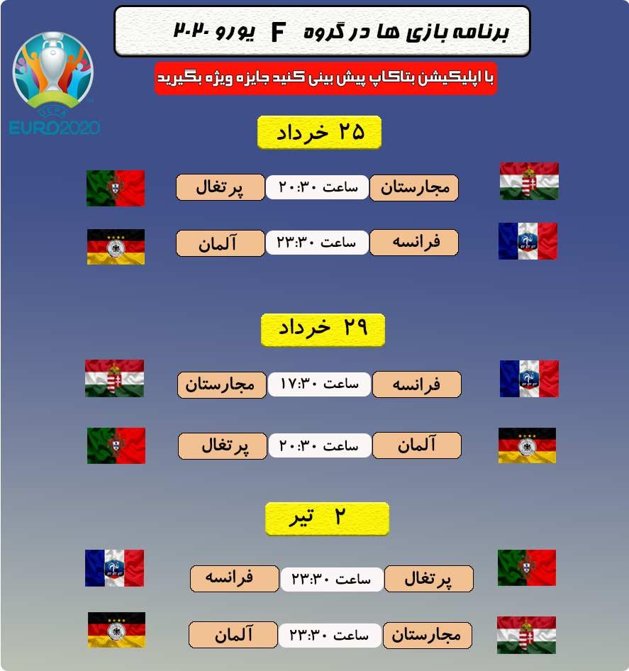 برنامه بازی های گروه F یورو 2020 + تاریخ و ساعت