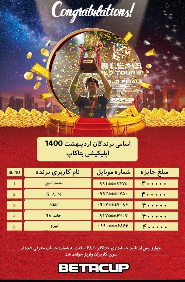 اسامی برندگان اپلیکیشن بتاکاپ   اردیبهشت 1400
