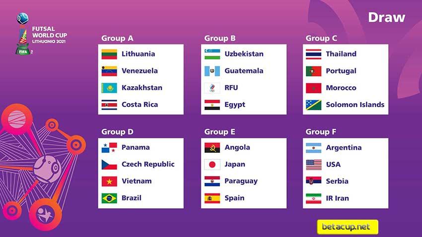 جدول گروه های جام جهانی فوتسال 2021