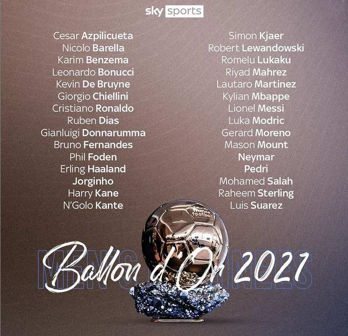 فهرست اسامی 30 نامزد نهایی توپ طلای جهان 2021